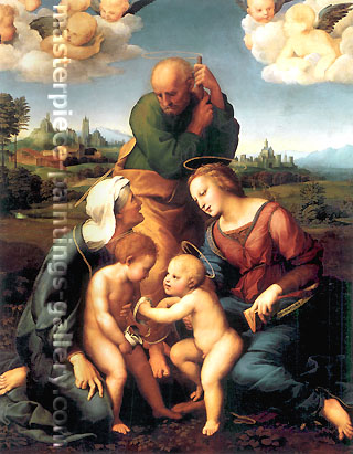 Raphael | Raffaello Sanzio, Holy Family with Saint Elizabeth and Saint John | Canigiani Holy Family, 1507-08, oil on canvas, 51.6 x 42.1 in. / 131 x 107 cm, US$860