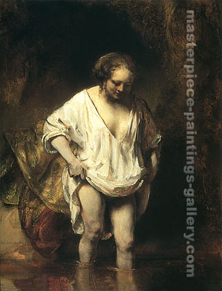 Rembrandt van Rijn, Hendrickje Bathing in a River, 1654, oil on canvas, 32 x 24.3 in / 81.3 x 61.8 cm, US$320