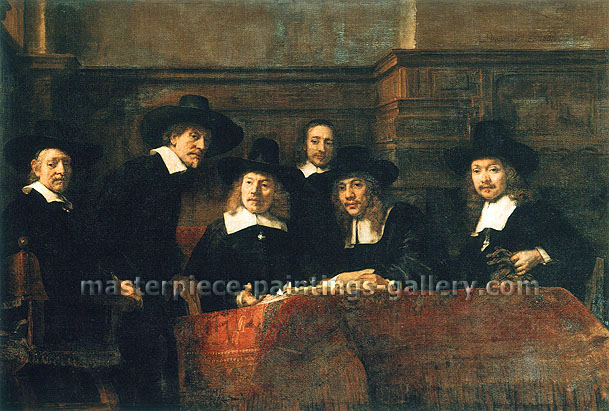 Rembrandt van Rijn, The Syndics of the Clothmakers' Guild | The Staalmeesters | Syndics of the Amsterdam Cloth Workers' Guild | The Syndics of the Drapers' Guild, 1662, oil on canvas, 32.4 x 47.2 in. / 82.4 x 120 cm, US$500