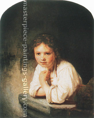 Rembrandt van Rijn, A Young Girl Learning on a Window-sill, 1645, oil on canvas, 32.1 x 26.0 in. / 81.6 x 66 cm, US$310