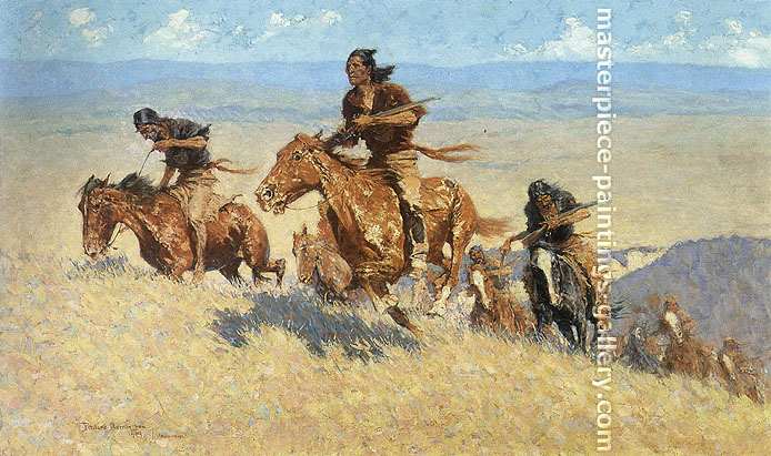 Frederic Remington, The Buffalo Runners, Big Horn Basin, 1909, oil on canvas, 30.1 x 51.5 in. / 76.5 x 130.8 cm, US$500