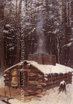 Frederic Remington, Antonie's Cabin, 1890, oil on canvas, 28.5 x 20 in. / 72.4 x 50.8 cm, US$360