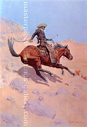 Frederic Remington, The Cowboy, 1902, oil on canvas, 40.3 x 27.4 in. / 102 x 69.6 cm, US$360