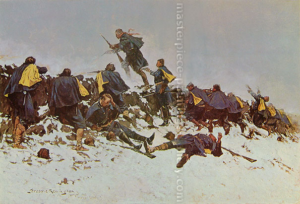 Frederic Remington, Through the Smoke Sprang the Daring Young Soldier, 1897, oil on canvas, 27.1 x 40 in. / 68.9 x 101.6 cm, US$420