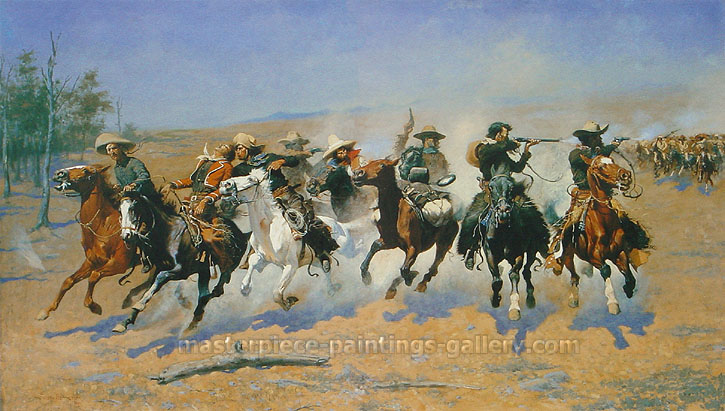 Frederic Remington, Dash for the Timber, 1889, oil on canvas, 48.3 x 84.1 in. / 122.6 x 213.7 cm, US$1,285