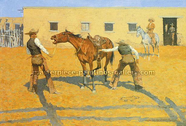 Frederic Remington, His First Lesson, 1903, oil on canvas, 16.3 x 24 in. / 41.3 x 61 cm, US$275