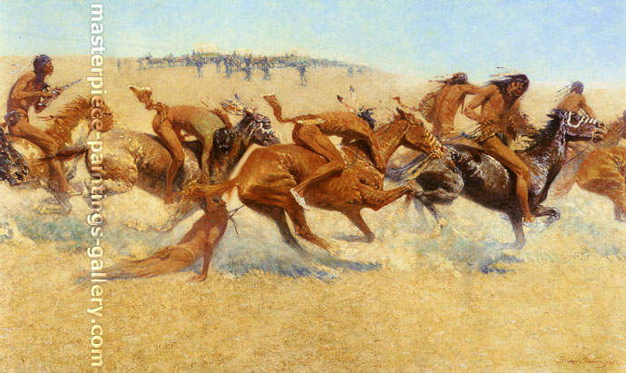Frederic Remington, Indian Warfare, 1908, oil on canvas, 29.5 x 50 in. / 74.9 x 127 cm,US$640