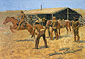 Frederic Remington, The Coming and Going of the Pony Express, 1900, oil on canvas, 26 x 39 in. / 66 x 99 cm, US$420