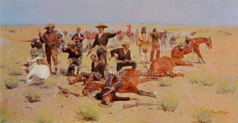 Frederic Remington, Rounded-Up, 1901, oil on canvas, 25 x 48 in. / 63.5 x 121.9 cm, US$480