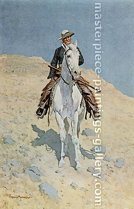 Frederic Remington, Self Portrait on a Horse, 1890, oil on canvas, 29.1 x 19.4 in. / 73.9 x 49.3 cm, US$290