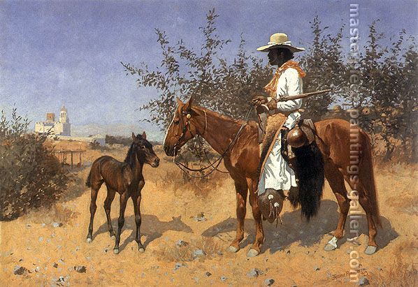 Frederic Remington, The Sentinel 1889, 1889, oil on canvas, 34 x 49 in. / 86.4 x 124.5 cm, US$500