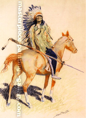 Frederic Remington, A Sioux Chief, 1900,oil on canvas, 37.9 x 22.9 in. / 96.3 x 58.09 cm, US$340