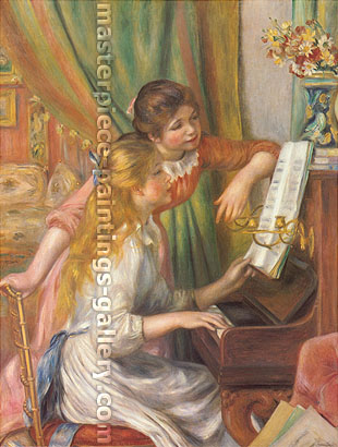 Pierre-Auguste Renoir, Young Girl at the Piano | Two Girls at the Piano, 1893, oil on canvas, 29.9 x 22.1 in. / 76 x 56.2 cm, US$350