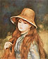 Pierre-Auguste Renoir, Girl with a Straw Hat, 1884, oil on canvas, 32.3 x 27.8 in. / 81.9 x 70.5 cm, US$330
