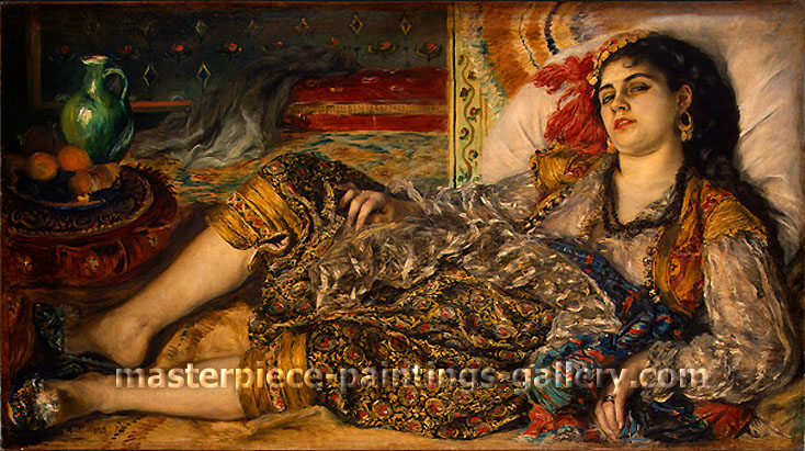 Woman of Algiers | Odalisque, 1870, oil on canvas, 27.2 x 48.3 in. / 69.2 x 122.6 cm, US$550