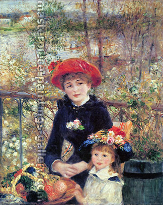 Pierre Auguste Renoir, On the Terrace | Two Sisters, 1881, oil on canvas, 25 x 20 in. / 63.5 x 50.8 cm, US$285