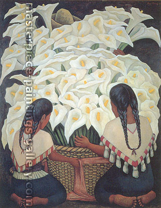Diego Rivera, Calla Lily Vendor, 1943, oil on canvas, 59.1 x 47.2 in. / 150 x 120 cm, US$600