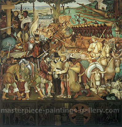 The Conguest or Arrival of Hernan Cortes in Veracruz, 1951, oil on canvas, 29.9 x 32 in / 75.9 x 81.3 cm, US$350