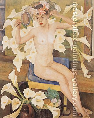 Diego Rivera, Nude with Flowers | Veiled Woman, 1943, oil on canvas, 60 x 46 in. / 152.4 x 116.8 cm, US$610