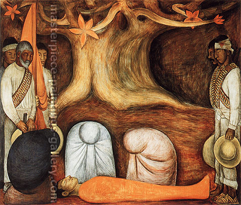 Diego Rivera, The Perpetual Renewal of the Revolutionary Struggle, 1926-27, oil on canvas, 41.8 x 42.2 in. / 106.2 x 107.1 cm, US$410