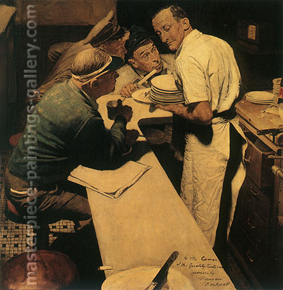 Norman Rockwell, War News, 1945, oil on canvas, 41.3 x 40.5 in / 101.6 x 99.8 cm