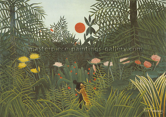 Henri Rousseau, Virgin Forest at Sunset | Forest Landscape with Setting Sun | A Negro Attacked by a Leopard | Negre attaque par un jaguar, 1910, oil on canvas, 45.7 x 64 in. / 116 x 162.5 cm, US$1370
