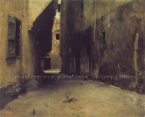 John Singer Sargent, A Street in Venice, 1882, oil on canvas, 18 x 21.5 in. / 45.7 x 54.6 cm, US$275