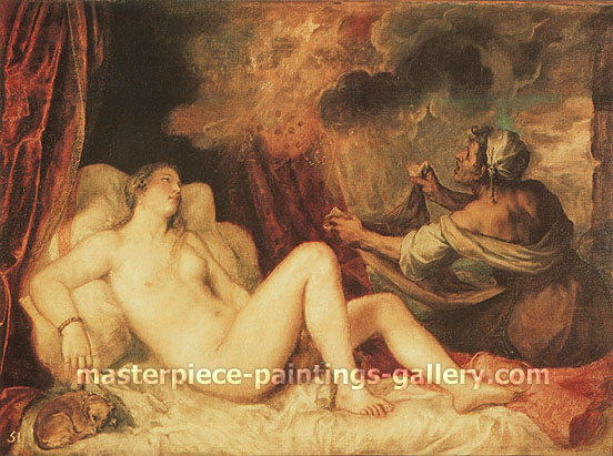 Titian | Tiziano Vecellio, Danae, 1549-50, oil on canvas, 35.6 x 59.9 in. / 90.3 x 152 cm, US$610