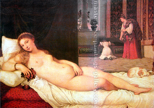 Titian | Tiziano Vecellio, Venus of Urbino (restored), 1538, oil on canvas, 46.25 x 65 in. / 117.5 x 165.1 cm, US$700