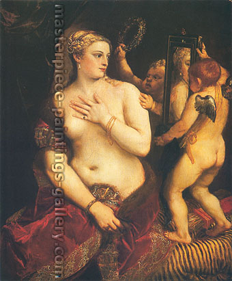 Titian | Tiziano Vecellio, Venus with a Mirror, 1555, oil on canvas, 49 x 41.5 in. / 124.5 x 105.5 cm, US$680