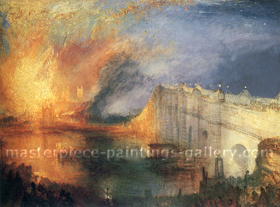 JMW Turner, The Burning of the Houses of Lords and Commons on 16th October 1834, 1835, oil on canvas, 26.9 x 36 in / 68.4 x 91.4 cm, US$320