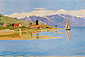 Felix Vallotton, Le Port de Pully | Port Pully | The Port of Pully, 1891, oil on canvas, 20 x 29.1 in. / 51 x 74 cm, US$315