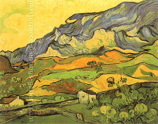 Vincent van Gogh, Les Alpilles, Mountainous Landscape near Saint-Remy, 1889, oil on canvas, 23.22 x 28.3 in. / 59 x 72 cm, US$280