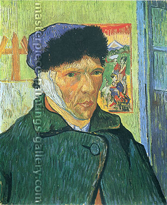 Vincent van Gogh, Self-portrait with Bandaged Ear, 1889 (JH 1657), oil on canvas, 23.6 x 19.3 in. / 60 x 49 cm, US$350