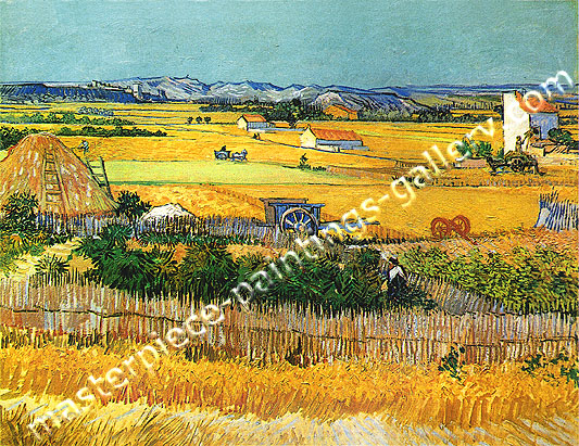 Vincent van Gogh, Harvest at La Crau | The Plain of La Crau near Arles with Montmajour in the Background, 1888, oil on canvas, 29 x 36 in / 73 x 93 cm, US$560