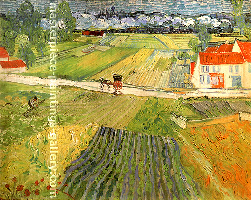 Vincent van Gogh, Landscape with Carriage and Train in the Background, 1890, oil on canvas, 28.3 x 35.4 in. / 72 x 90 cm, US$330