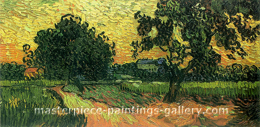 Vincent van Gogh, Landscape with the Chateau of Auvers at Sunset, 1890, �(JH 2040) oil on canvas, 24.8 x 50 in. / 62.9 x 127 cm, US$440