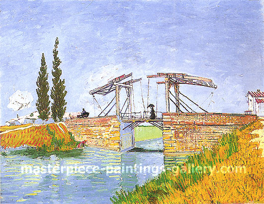 Vincent van Gogh, The Langlois Bridge at Arles | Drawbridge with Lady with Parasol, 1888, oil on canvas,  oil on canvas, 19.5 x 25.2 in / 49.5 x 64 cm, US$250