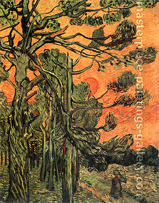 Vincent van Gogh, Pine Trees against a Red Sky with Setting Sun, 1889, oil on canvas, 36.2 x 28.7 in. / 92 x 73 cm, US$560