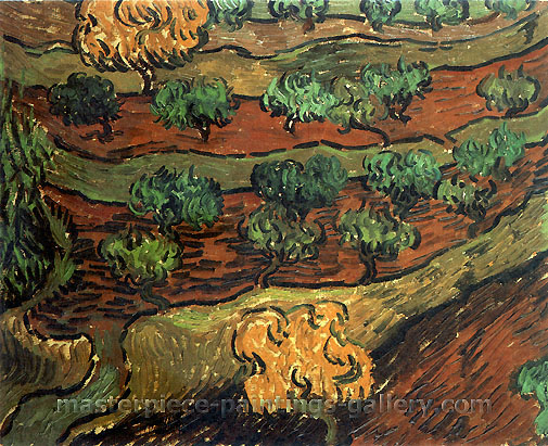 Vincent van Gogh, Olive Trees against a Slope of a Hill, 1889, oil on canvas, 13.2 x 15.7 in. / 33.5 x 40 cm, US$300