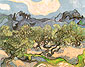 Vincent van Gogh, Olive Trees with Alpilles in the Background, 1889, oil on canvas, 28.5 x 36.2 in. / 72.5 x 92 cm, US$300