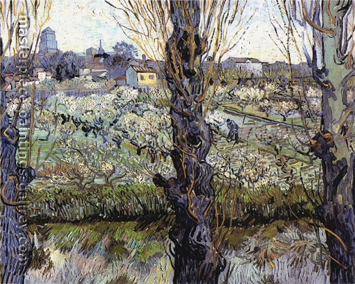 Vincent Van Gogh, Orchard in Bloom with Poplars in�the Forefront, 1889, oil on canvas, 28.3 x 36.2 in. /  72 x 92  cm, US$360