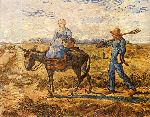 Vincent van Gogh, Morning: Peasant Couple Going to Work (after Millet), 1890, oil on canvas, 28.7 x 36.2 in. / 73 x 92 cm, US$540