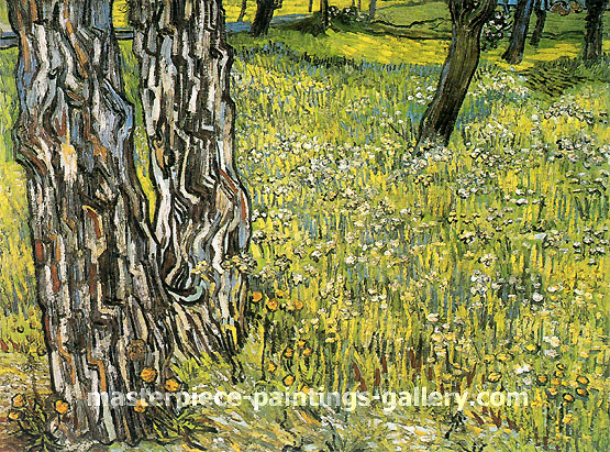 Vincent van Gogh, Pine Trees and Dandelions in the Garden of Saint-Paul Hospital, 1890, oil on canvas, 28.3 x 35.4 in. / 72 x 90 cm, US$550