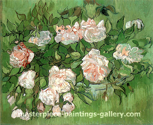Vincent van Gogh, Still life: Pink Rose, 1890, oil on canvas, 12.6 x 15.9 in. / 32 x 40.5 cm, US$300