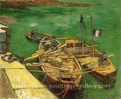 Vincent van Gogh, Quay with Men Unloading Sand Barges, 1888, oil on canvas, 21.7 x 26.1 in. / 55.1 x 66.2 cm, US$370