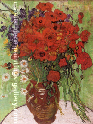 Vincent van Gogh, Still life: Red Poppies and Daisies, 1890, oil on canvas, 25.6 x 19.7 in. / 65 x 50 cm, US$350