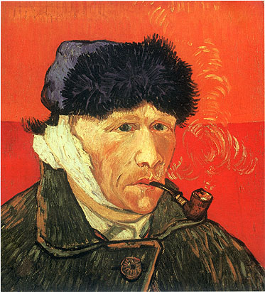 Vincent van Gogh, Self-portrait with Bandaged Ear and Pipe, 1889, oil on canvas, 20 x 17.7 in. / 51 x 45 cm, US$310