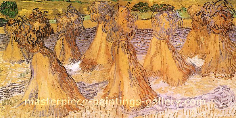 Vincent van Gorh, Sheaves of Wheat, 1890, oil on canvas, 19.9 x 39.8 in. / 50.5 x 101 cm, US$560
