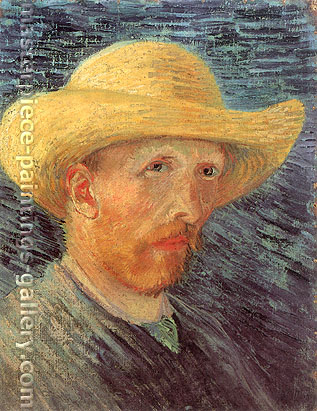 Vincent van Gogh, Self-Portrait with Straw Hat, Paris, 1887, oil on canvas, 16.1 x 12.2 in. / 41 x 31 cm, US$240